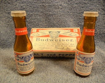 Budweiser Beer Bottle Salt And Pepper Shaker In Original Box