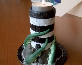 Papel mache candleholder: Lighthouse and tentacles of the kraken