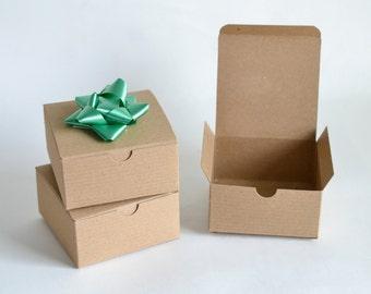 "Gift Boxes, 25 Kraft Boxes, Kraft Gift Boxes, Party Favor Boxes, Kraft Paper Boxes, Christmas Gift Boxes, Paper Boxes, Brown Boxes 4x4x2"""
