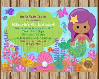 "Mermaid Birthday Invitations- Under the Sea Invitations- Mermaid Party Invitation- Mermaid Birthday Party Invite - 4""x6"" size- Print at Home"