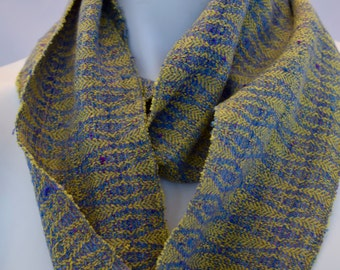 Hand-dyed, handwoven, skinny infinity scarf in yellow, blue, and lavender -LIS37