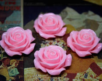 4 pcs Pink Resin Rose Flower Cabochon 30mm for all your DIY needs. K-05