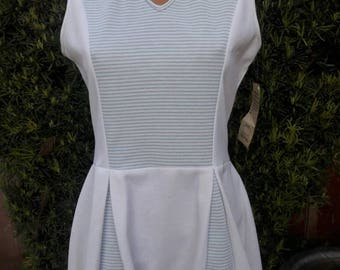 New Old Stock Vintage 1970s Blue Striped Tennis Dress.Made by Tennis Habits Size 13-14 Original Hang Tag
