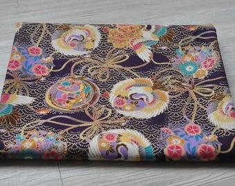 Japan kimono yukata chinese cheongsam crane flower purple Fabric 1/2 yard