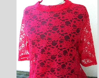 Tunic from red lace fabric - free shipping