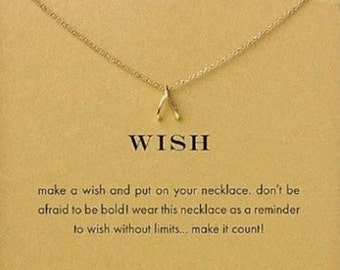 Wish Gold Plated Inspirational Pendant Necklace