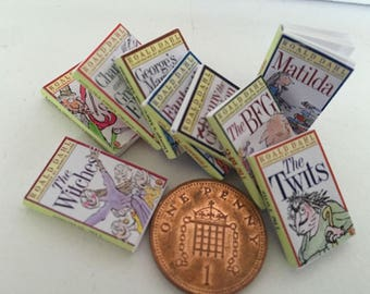 Set of 9 Roald Dahl DOLLS HOUSE BOOKS - Handmade new 1:12th Scale