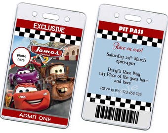 Disney Cars PIT PASS Birthday Invitation. Disney Cars Pit Pass Invitation. Disney Cars Invitation. Matey, McQueen. Digital (you print)