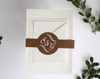 Wedding Invitation Belly Band / Monogram Wedding Invitation Enclosure - Monogram Belly Band, Personalized Belly Band, Monogrammed