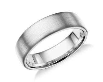 Men's Modern Comfort Fit Wedding Ring - Mens 6.5mm Wide Wedding Band - 14K 18K White Yellow Rose Gold or Platinum - Brushed or Matte Band