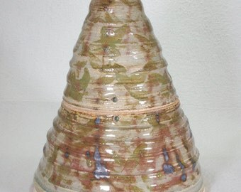 Cone Shaped Stoneware Ceramic Lidded Jar in Green, Russet and Gray