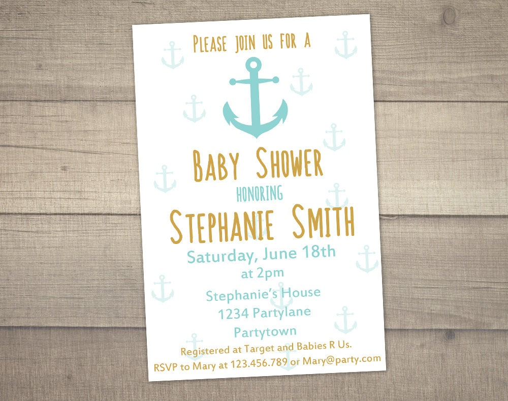 anchor baby shower invitation nautical baby shower