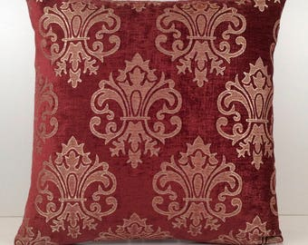 Light Burgundy (cherry red) and Tan Pillow, Throw Pillow Cover, Decorative Pillow Cover, Cushion Cover, Accent Pillow, Velour Blend Pillow.