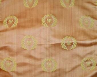 STUNNING NEOCLASSICAL BEE Strie Silk Damask Fabric 10 Yards Gold Salmon