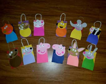 12 Inspired Peppa Pig & Friends  Party Favor Bags