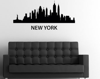 New York Skyline Wall Decal Custom Made Customize Size Color and more Customized Wall Stickers and Custom Wall Decals