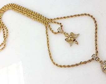Double Chain Layered Necklace with Angel & Jesus Piece Pendants and 24 and 30 Rope Chains