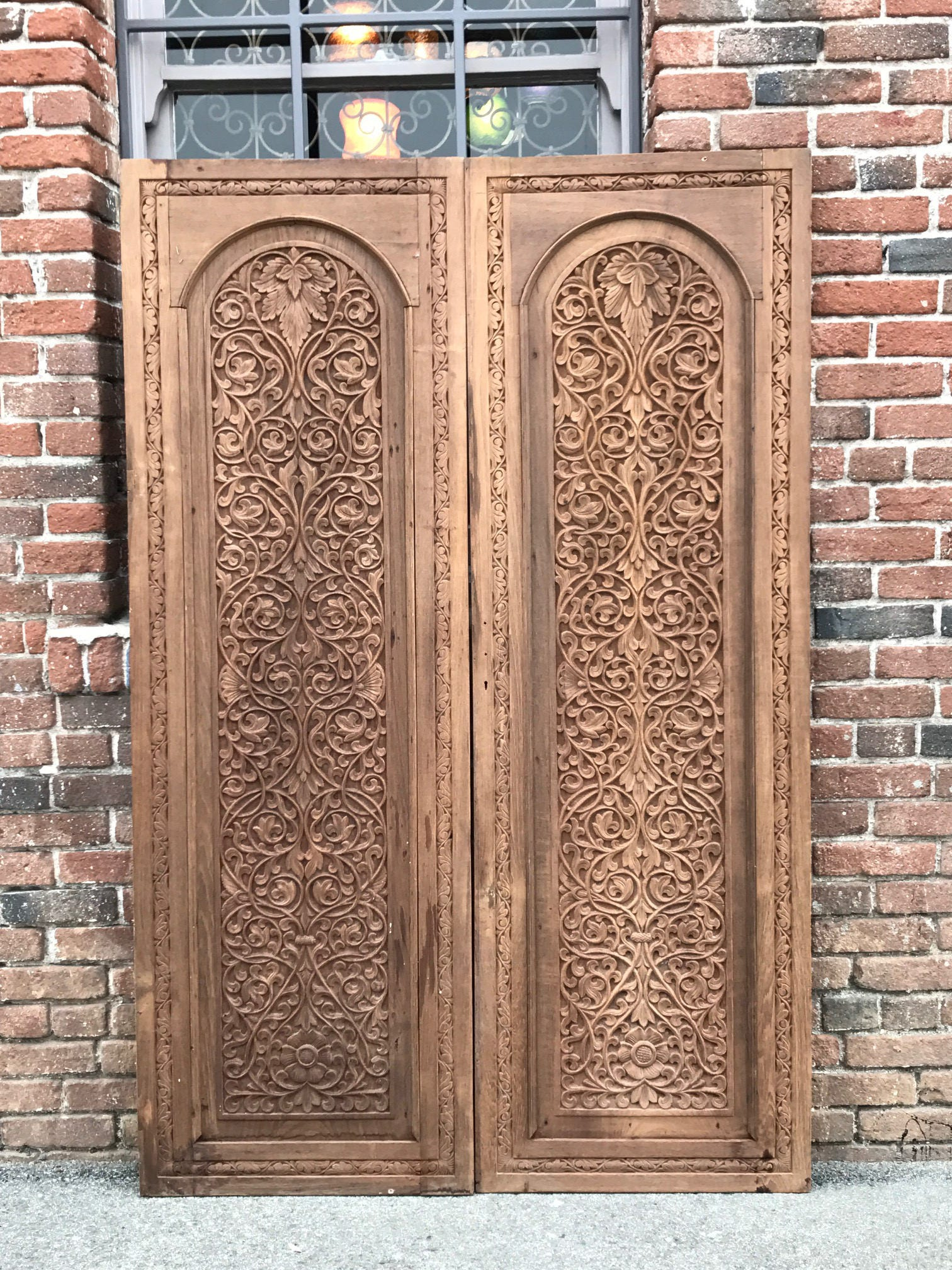 HOLD FOR KIRSTEN!!! Pair of 19th C. Anglo Indian Doors, Carved Indian Doors,  Pair of Antique Indian Doors - HOLD FOR KIRSTEN!!! Pair Of 19th C. Anglo Indian Doors, Carved