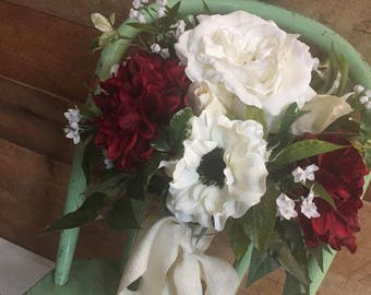 Gorgeous Red & White Bridal Bouquet. Large size. Full of flowers. Lots of texture.