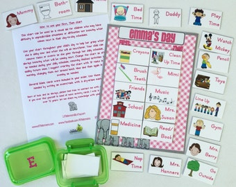 First, Then Chart Daily schedule chart, 25 customized cards, transition chart, visual schedule, PECS, autism, laminated, elephant themed