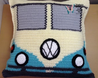 "VW Camper Van Cushion >> Handmade >> Crocheted >> Holidays >> Camping >> 18"" x 18"" >>"