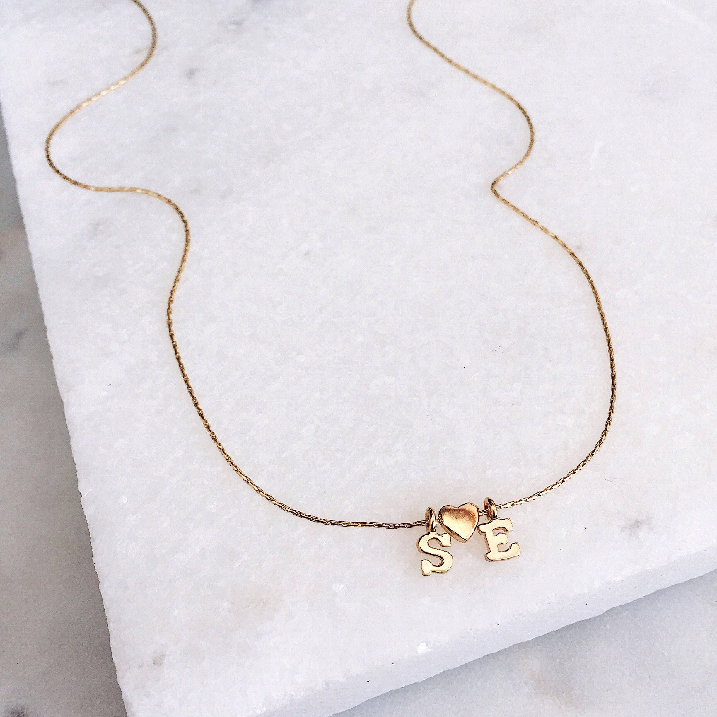 Custom initial letter necklace 14k gold fill delicate for Custom letter necklace gold