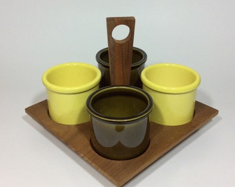 Georges Briard Wood Serving Tray and Condiment Jars Mini Crocks Vintage Handled Serving Tray