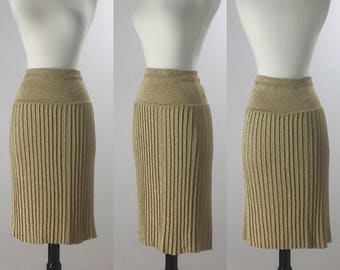 1960's Inspired Gold Lurex Sparkle Cable Knit Wiggle Skirt | Size Large/Extra Large | VOLUP