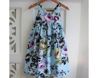 Toddler Girls Dress Size 1 Hummingbird Dress /Blue Floral Dress / babies clothing / Summer Dress Baby Dress /