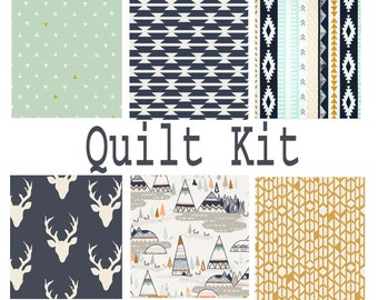 Baby Quilt Kit | Baby Quilt | Pre Cut Unfinished Craft Supply Quilt Fabric Baby Boy Crib Quilt Aztec Gender Neutral Lodge Deer Tribal