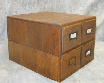 4 Drawer Oak File Cabinet Stackable Organizer Vintage Library Card Catalog Desk