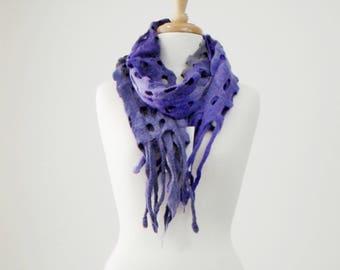 Wool Felt Scarf Womans Shawl Wrap Australian Merino Wool Felt Wrap Chunky Wool Scarf Hand Made Winter Scarf Gifts Birthday Purple Grey 11517