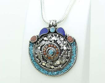 ON SALE! Lapis Coral Turquoise Native Tribal Ethnic Vintage Nepal Tibetan Jewelry OXIDIZED Silver Pendant + Chain P3922