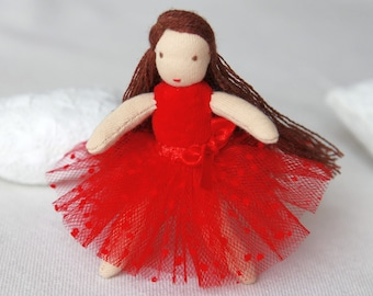 Waldorf doll balerina 4 inch (11 cm) pocket doll party favours doll