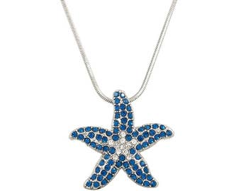 Crystal Handmade White Gold Plating Blue Starfish Starfish Tropical Ocean Pendant Necklace with Gift Box