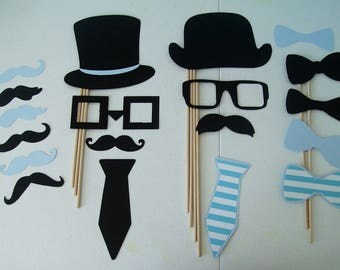 Photo Booth Props Baby Boy lil man Little Man Gender Reveal (2117D)