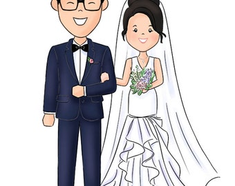 Wedding Illustration //  Save the Date // Custom Couple Illustration //  Wedding Decoration // Wedding Favours (Digital)