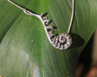Fiddlehead Pendant- Sterling Silver