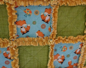 Rag Quilt, Wildlife Baby Quilt, Baby Rag Quilt,  Fox Rag Quilt, Wildlife Nursery Decor, Lap Throw, Gender Neutral Rag Quilt, Play Mat