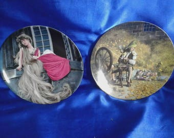 Pair of Grimms Fairy Tales German Collectors Plate 'Repunzel & Rumpelstilzchen' by Charles Gehm