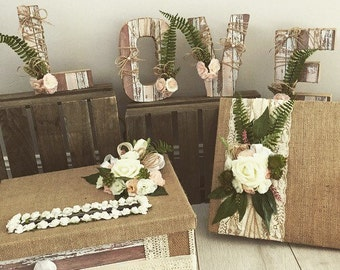 Guest book and card box wedding package