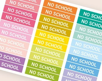 No school Heading stickers, planner header stickers, planner stickers, agenda notebook journal stickers, eclp filofax happy planner kikkik