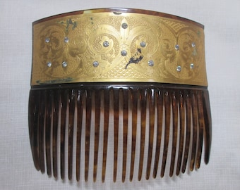 Antique Faux Tortoiseshell Gold Hair Comb Celluloid Vintage Haircomb