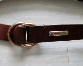 Vintage Timberland Belt with Loop Closure // Dark Brown Genuine Leather Belt with Brass Buckle //