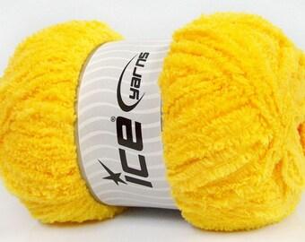 Puffy Microfiber Yellow Ice Yarn, Fiber Art Yarn, Fuzzy Soft Yarn, Puffy Yarn, Bulky Velvety Yarn, One Skein 180 yards, 41757