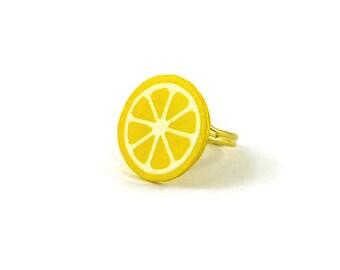 Yellow lemon slice ring, gourmand fancy lemon ring, plastic fruit ring (recycled CD)
