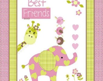 Best Friends Elephant Panel- Springs Creative - 100% Cotton Fabric - Designer Fabric