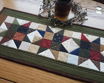 Quilted Table Runner / Primitive Table Runner / Quilted Star Table Runner/ Scrappy Table Runner/  Handmade