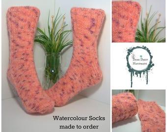 Handmade handknitted socks/made to order/ladies socks/bed socks/boot socks/house socks/watercolour yarn.