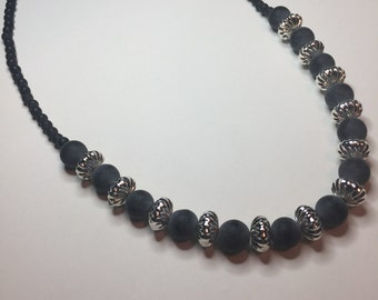 Brazilian black stone and silver necklace